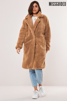 Missguided Tan Borg Teddy Oversized Coat