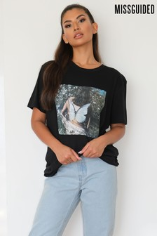 Missguided Butterfly Photographic Short Sleeve Tee