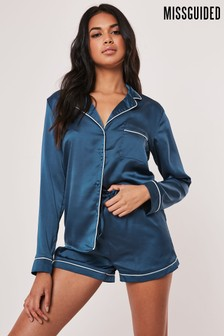 Missguided Satin PJ Short Set With Piping Detail