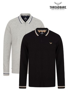 Threadbare Multi 2 Pack Long Sleeve Polo Top