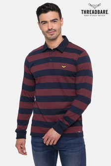 Threadbare Long Sleeve Stripe Rugby Polo Top