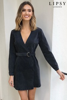 Lipsy Washed Denim Wrap Dress