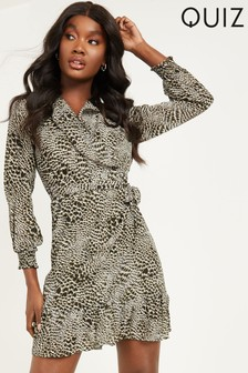 Quiz Animal Print Wrap Dress With Frill Detail And Long Sleeve