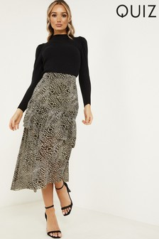Quiz Animal Print Asymmetric Hem Skirt With Frills