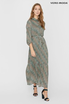 Vero Moda Tiered Printed Maxi Shirt Dress