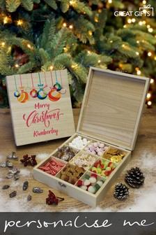 Personalised Merry Christmas  Wooden Sweet Box By Great Gifts