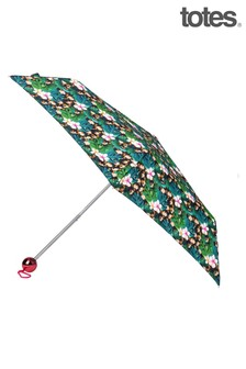 Totes Supermini Electroplated Globe Handle Jungle Animal Print Umbrella