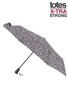 Totes X-Tra Strong Auto Open/Close Foliage Print Umbrella