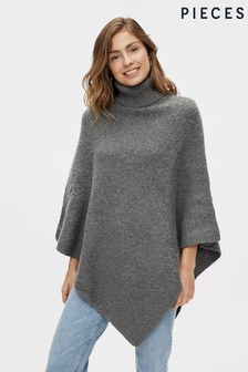 PIECES Knitted Roll Neck Poncho