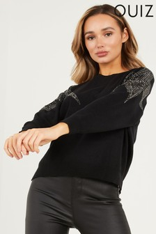 Quiz Star Embellished Knit Jumper