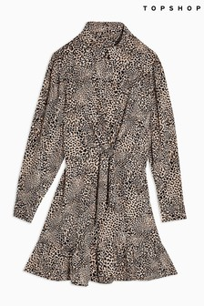 Topshop Animal Knot Front Mini Dress