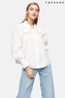 Topshop Poplin Ruffle Collar Shirt