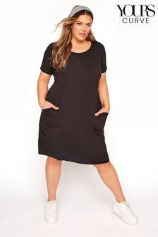 Yours Curve Sustainable Organic Drape Pocket Dress