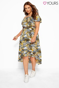 Yours Curve Tropical Print Bardot Midi Dress
