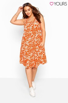 Yours Curve Tropical Floral Sleeveless Drape Pocket Dress