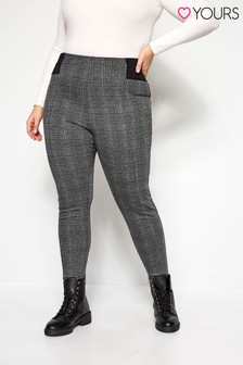 Yours Curve Check Ponte Tapered Trousers