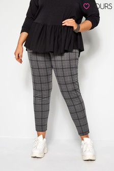 Yours Curve Charcoal Check Ponte Trousers