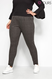 Yours Curve Check Double Pleat Harem Trousers