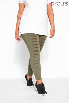 Yours Curve Ripped Mesh Insert Leggings