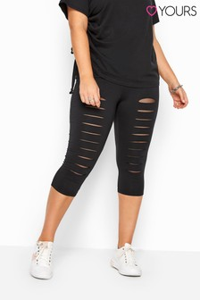 Yours Curve Ripped Mesh Insert Cropped Leggings
