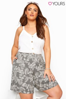 Yours Curve Leaf Print Jersey Shorts