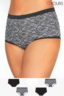 Yours Curve Mono Floral Full Briefs - Pack Of 5