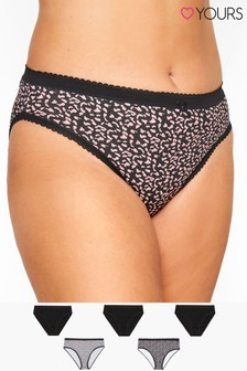 Yours Curve Animal Print High Leg Briefs - Pack Of 5