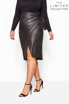 Yours Curve Limited Collection Leather Look Tie Waist Wrap Skirt