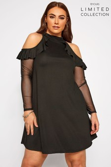 Yours Limited Collection Crepe Cold Shoulder Mesh Sleeve Frill Dress