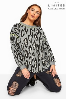 Yours Limited Collection Leopard Print Neon Trim Jumper