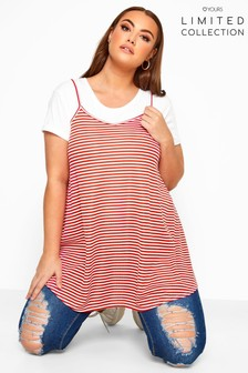 Yours Curve Limited Collection Stripe Cami Swing Top
