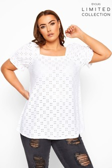 Yours Curve Limited Collection Broderie Square Neck Top