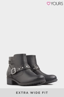 Yours Studded Buckle Ankle Boots In Extra Wide Fit