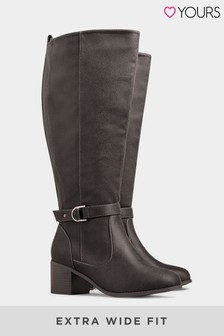 Yours Faux Suede Knee High Boots In Extra Wide Fit