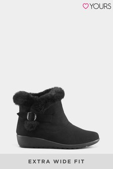Yours Faux Fur Trim Wedge Ankle Boot In Extra Wide Fit