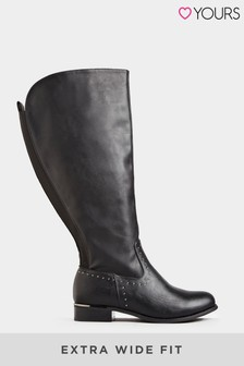 Yours Studded Trim Stretch Knee High Boots In Extra Wide Fit