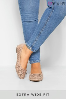 Yours Laser Cut Stud Ballerina Pumps In Extra Wide Fit
