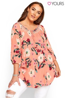Yours Curve Floral Print Bardot Gypsy Top
