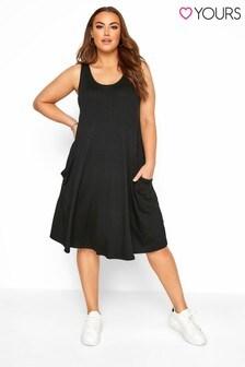 Yours Curve Sleeveless Drape Pocket Dress