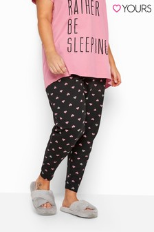 Yours Curve Heart Cuffed Pyjama Bottoms
