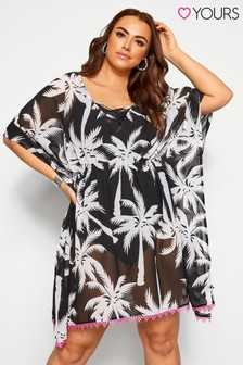 Yours Curve Tropical Palm Print Cover Up