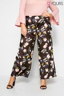 Yours Curve London Floral Slinky Wide Leg Trousers