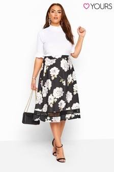 Yours Curve London Floral Mesh Panel Flared Skater Skirt