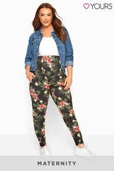 Yours Bump It Up Maternity Black Tropical Floral Harem Trousers