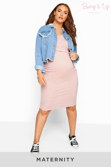 Bump It Up Maternity Ribbed Twist Bodycon Midi Dress