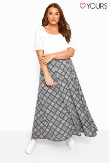 Yours Curve Check Maxi Skirt