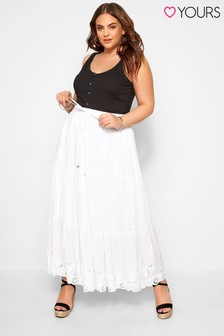 Yours Curve Crinkle Broderie Maxi Skirt