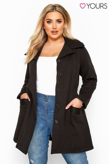 Yours Curve Revere Collar Jersey Coat