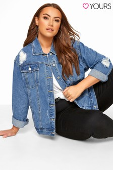 Yours Curve Distressed Oversized Denim Jacket