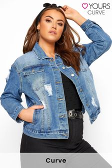 Yours Curve Distressed Western Denim Jacket
